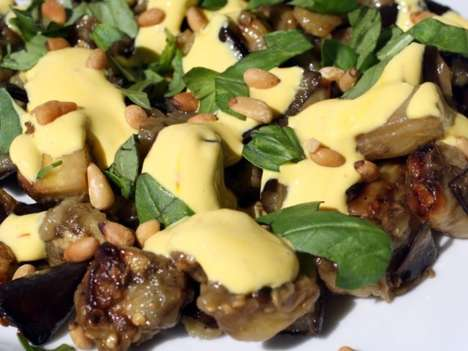 Herb-Infused Yogurt Sauces - This Eggplant Salad Dish Calls for a Delicious Saffron Yogurt Sauce