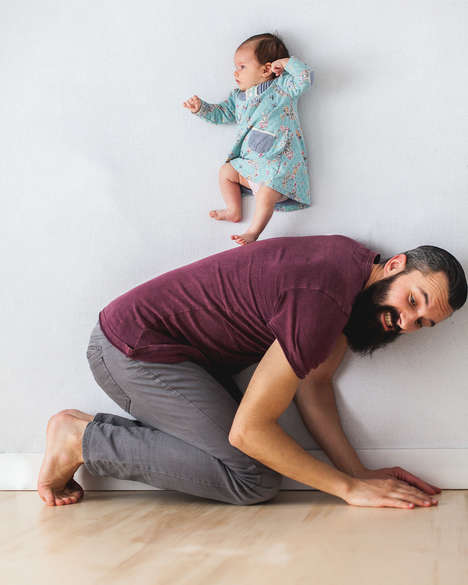 Endearing Father-Daughter Photos - These Images Capture a Newborn and Her Dad in Humorous Poses