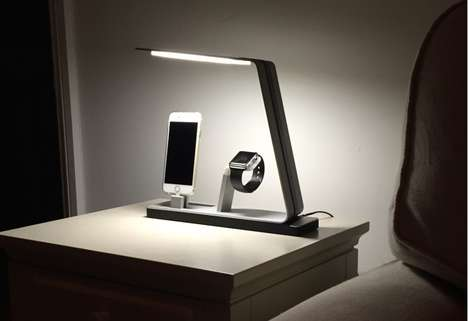 Bedside Charging Stations - This Bedside Lamp is an All-in-One Easy Charging Station for Electronics
