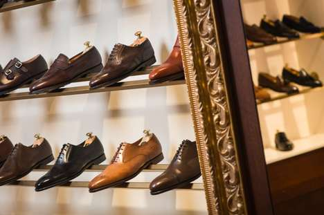 Clubhouse-Inspired Retail Interiors - This Upscale Geneva Shop for Men's Footwear Boasts a Bar