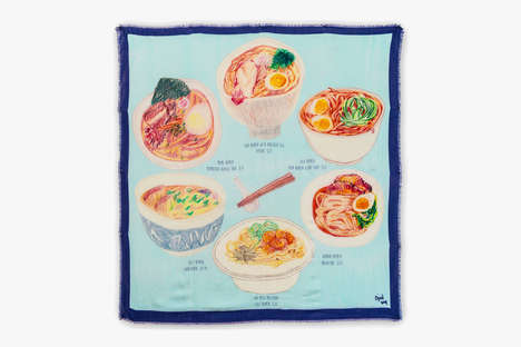 Ramen-Printed Scarves - Christina J Wang's Illustrated Scarves Features Images of Food and Pets
