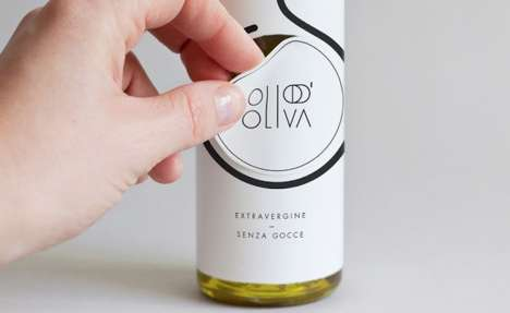 Dual-Role Labels - The Sticker on this Olive Oil Bottle Peels Off to Become a Clever Oil Spout