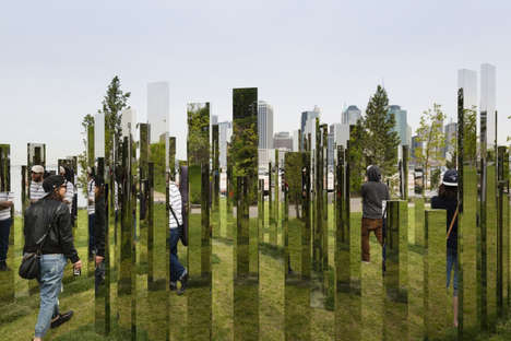Mirrored Labyrinth Installations - The 'Please Touch the Art' Exhibit is Setup in a Brooklyn Park