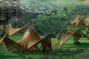 Foldable Bamboo Green Huts