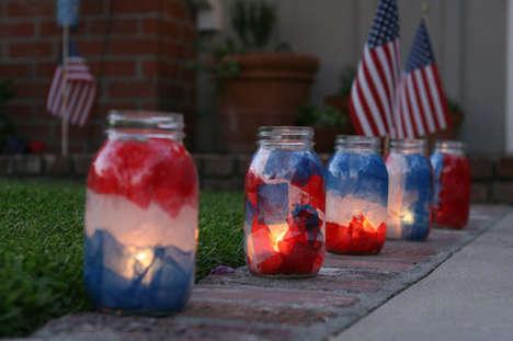 DIY Patriotic Luminaries - These Mason Jar Luminaries Make a Great Fourth of July Project