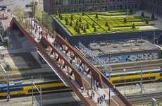 Aerial Pedestrian Bridges - The Paleisbrug Pedestrian Bridges Double Up As Parks in the Sky