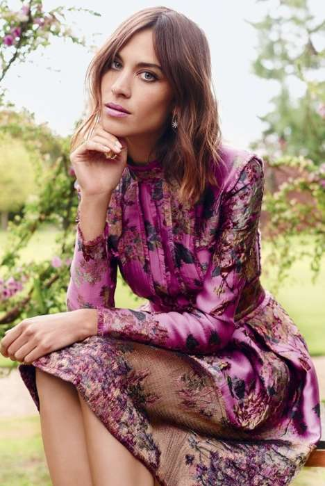 Floral Beauty Editorials - The Alexa Chung Harper's Bazaar UK Cover Shoot is Stunningly Seasonal