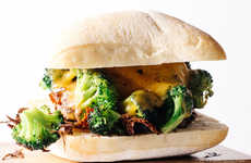 Healthy Cheddar Burgers - Iamafood Blog's Broccoli Cheddar Burger is Garnished With Steamed Veggies