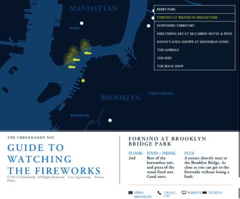 Interactive Fireworks Guides - UrbanDaddy's Fourth of July Map Shares the Best Fireworks Locations