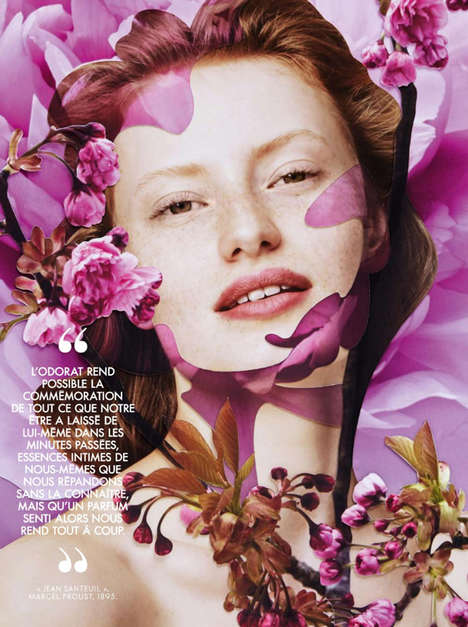 Botanical Beauty Portraits - Elle France's 'A Fleur de Peau' Series Features Artistic Filters