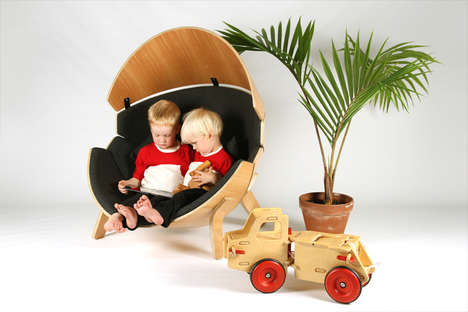 Half-Moon Pod Chairs - The 'Hideaway' Chair Provides Kids at a Cozy Seat and Place to Escape