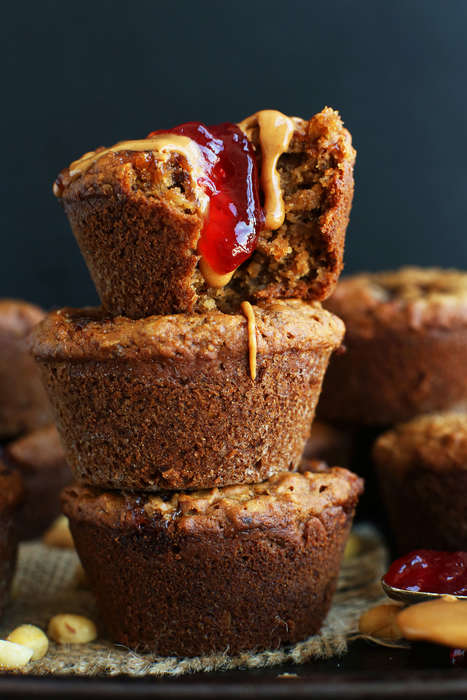 Remixed Sandwich Desserts - The Minimalist Baker's PB & J Muffins are Vegan-Approved