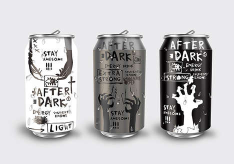 Zombie-Branded Energy Drinks - The Labels of 'After Dark' Feature Images of the Ghostly Figures
