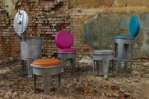 These Upcycled Garbage Cans are Turned into Functional Furniture Pieces