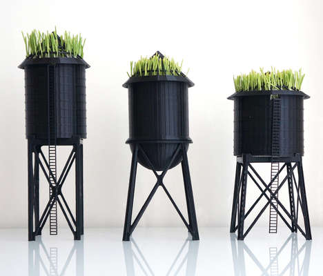 Water Tower Plant Holders - These 3D Wheat Grass Growers Mimic NYC Water Towers
