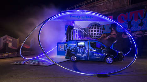 Psychedelic Party Cars - The Nissan NV200 is an All-Electric Portable Party Car