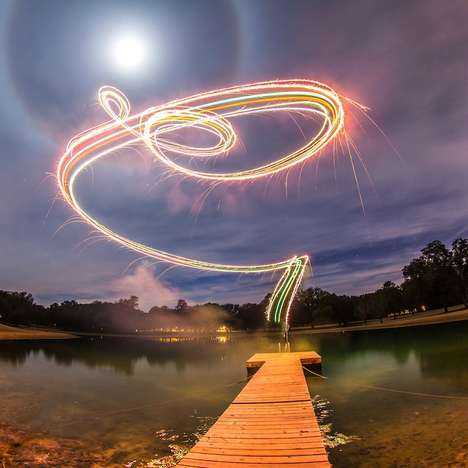 Experimental Drone Photography - The Calder Wilson Long-exposure Fireworks Images Capture Light