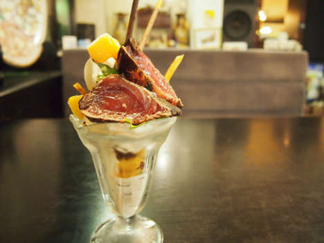 Fishy Parfait Desserts - Restaurant Yuzuan's Savory Parfait is Made with Ginger and Grilled Bonito