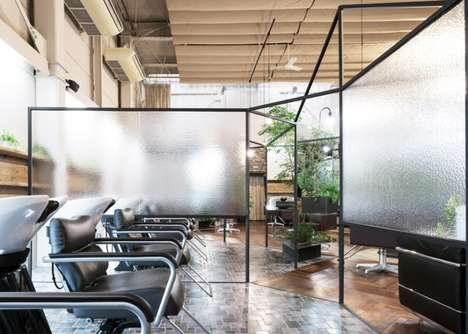 Shrouded Salon Interiors - This Chic Japanese Salon Features a Stunning Display of Greenery