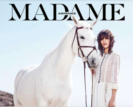 Ethereal All-White Editorials - The Latest Issue of Air France Madame Stars Langley Fox