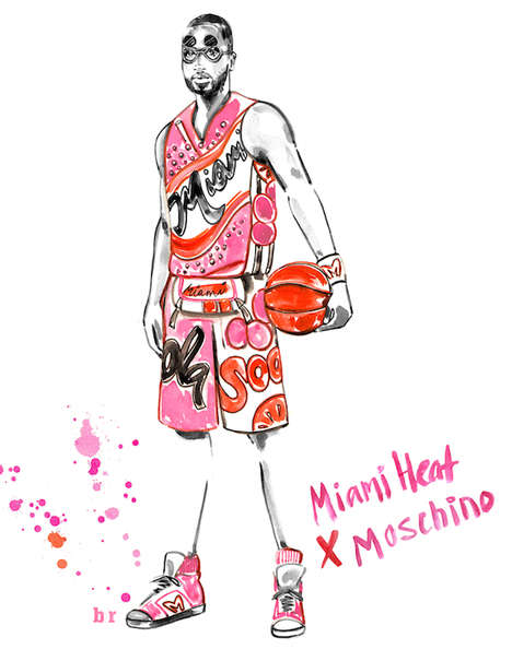 Designer Basketball Jerseys - Illustrator Meagan Morrison Redesigned NBA Uniforms as Luxury Fashion