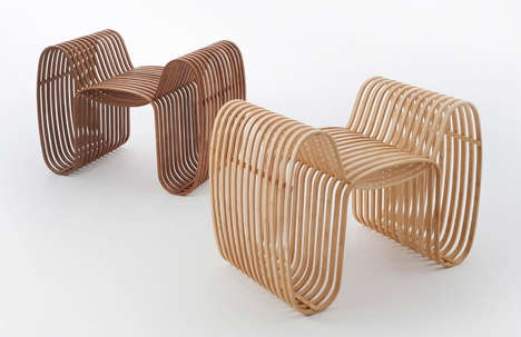 Bow Tie-Inspired Seating - These Bamboo Bow Tie Chairs are Heated and Bent into Shape