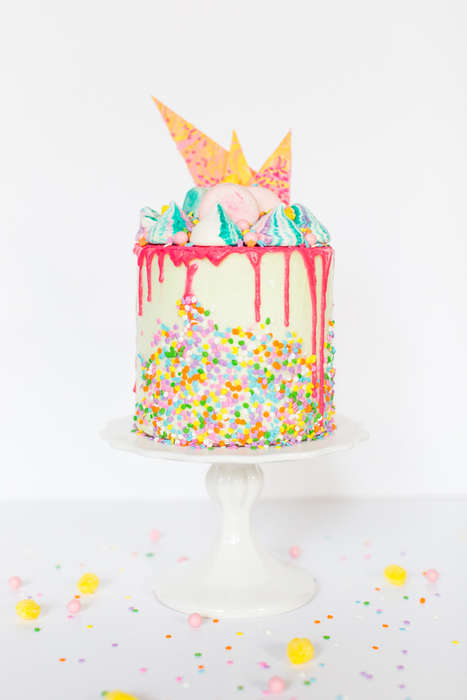 Whimsical Strawberry Cakes - The Sugar and Cloth Unicorn Strawberry Cake Recipe Looks Magical