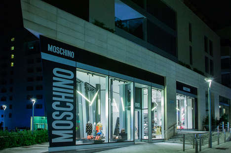 Brutalist Architecture Boutiques - Moschino's Milan Location Juxtaposes Minimalist and Busy Designs