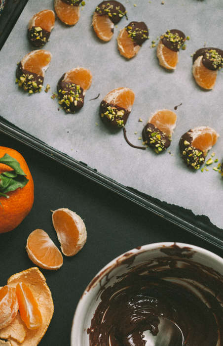 Chocolate-Dipped Clementines - This Healthy Dessert Features Fresh Fruit and Pistachio Ingredients