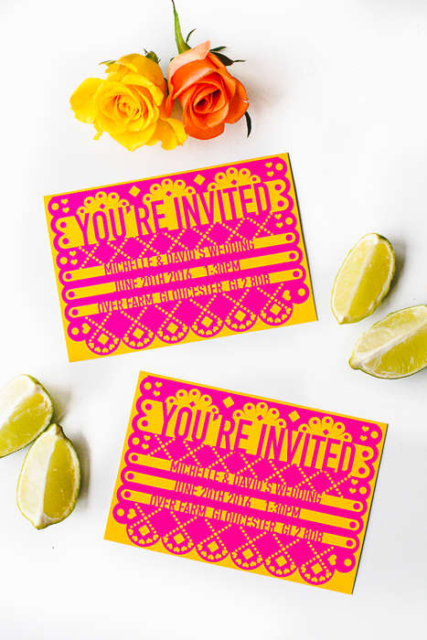 Fiesta Wedding Invitations - This Printable Stationary Set is Designed for a Mexican Wedding Theme