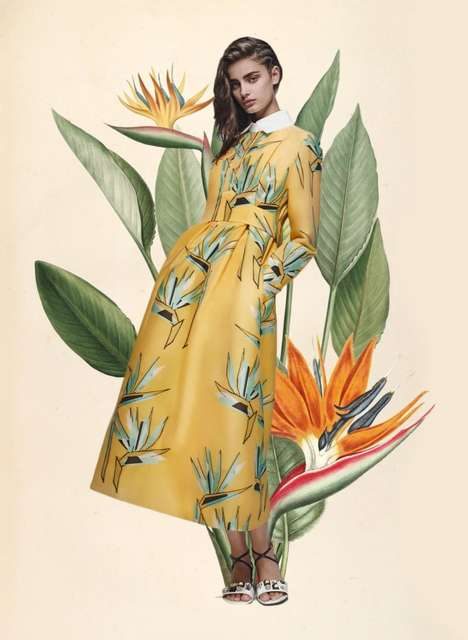 Botanical Fashion Collages - Blogger Miss Moss Celebrates the Season's High Fashion with Custom Art