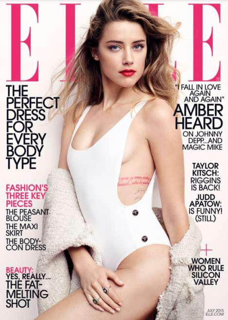Effortlessly Elegant Editorials - The Amber Heard ELLE Cover Shoot is Captured by Liz Collins