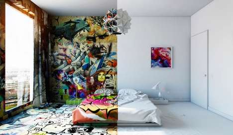 Two-Faced Room Decor - Pavel Vetrov's Graffiti Room Illustrates The Different Sides of One Space