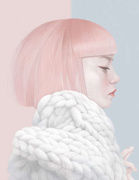 Sublime Fashion Illustrations - Hsiao-Ron Cheng's Pastel Art Series Captures Model Closeups