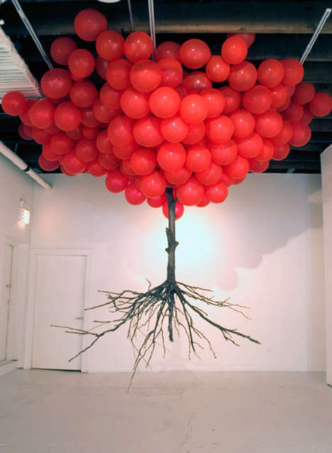 Playfully Surreal Installations - Myeongbeom Kim Works with Balloons and Branches in Creative Ways