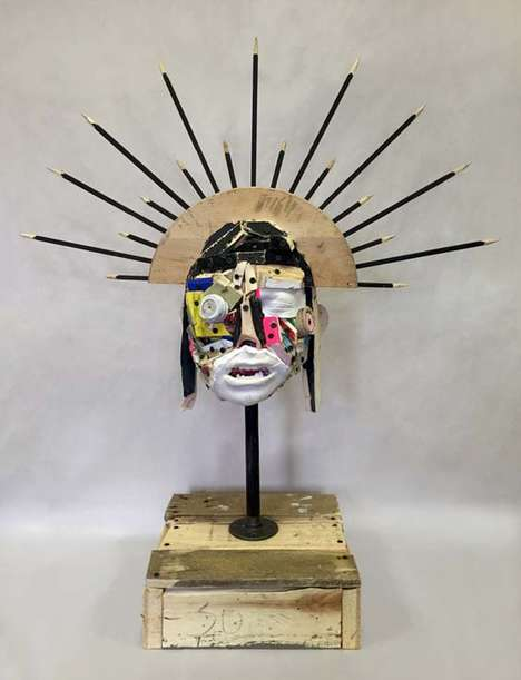 Trash-Made Head Sculptures - Nicolas Holiber Makes Colorful Mixed Media Art Out of Unwanted Material