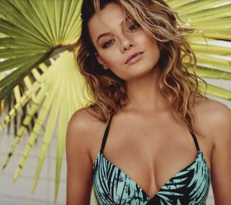 Tropical Poolside Photoshoots - Model Mathilda Price Showcases Swimsuits from Polish Brand Reserved