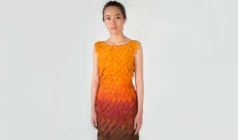 Interactive Autumn Fashion - Birce Ozkan's Fall Dress Sheds 'Leaves' Like a Real Tree