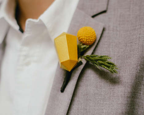 Geometric Groom Accessories - The DIY Boutonniere Uses a Paper Shape to Add Flair to Crafty Weddings