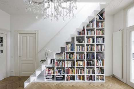 Staircase Bookshelf Storage - Marc Koehler Architects's Latest Project Stores Books Creatively