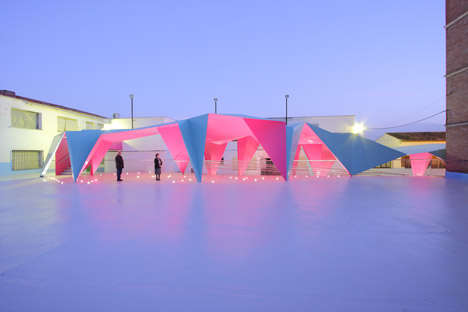 Origami Playground Canopies - This Brightly Colored Thin Metal Canopy Protects a Playground in Spain