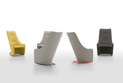 Minimalist High-Backed Chairs - NAGI by Tomoya Tabuchi is a Curvy Seat for Reading or Working
