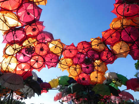 Upcycled Umbrella Art - Izaskun Chinchilla Designed This Colorful Umbrella Canopy in NYC