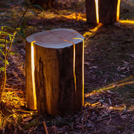 Cracked Log Lamps - Duncan Meerding Creates a Gorgeous Nature-Inspired Piece of Furniture