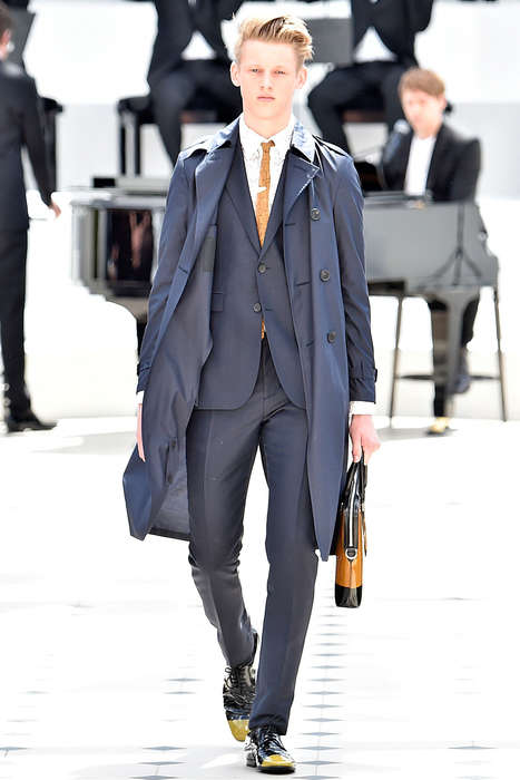 Retro-Modern Gentleman Apparel - The Latest Burberry Prorsum Menswear Collection Blends Old With New