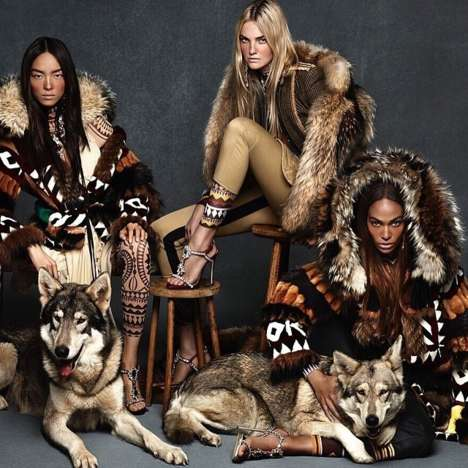 Wolf Pack Fashion Ads - The DSquared2 Campaign Stars Fei Fei Sun, Caroline Trentini and Joan Smalls