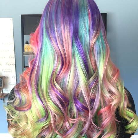 Psychedelic Rainbow Hairstyles - Sand Art Hair is Inspired by the Colorful Art Created as Kids
