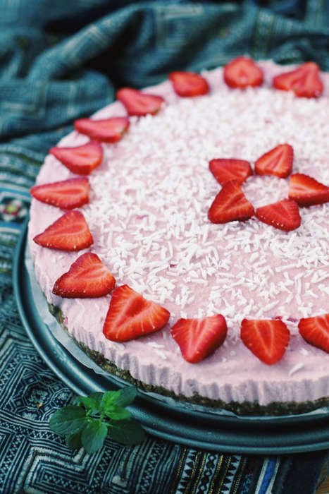 Raw Cake Recipes - This Vegan Icebox Cake Calls for Seasonal Strawberries and Dried Coconut