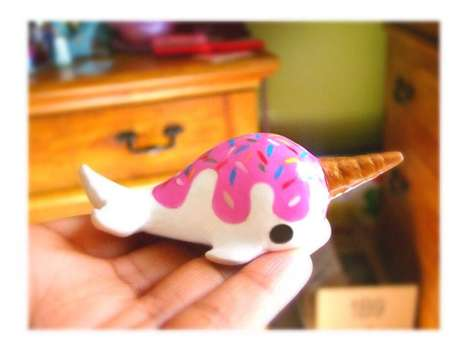 Cute Narwhal Figurines - These Ice Cream-Covered Toys are Absolutely Adorable Accessories