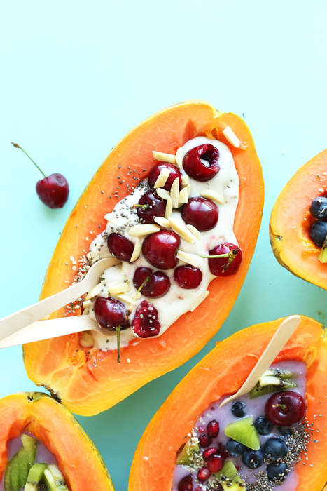 Healthy Papaya Desserts - Minimalist Baker's Papaya Boat Salads Are Made with Fruit, Seeds and Nuts